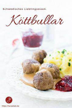 Schwedische Rezepte: Köttbullar Rezept aus Schweden. Fleischklopse, die Kinder lieben. Rezept von herzelieb #fleisch #kinder #kochen #schweden #skandinavien #herzelieb
