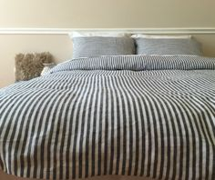 Navy And White Striped Linen Bedding | Handmade By Superior Custom Linens