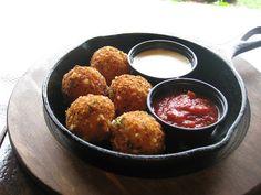 Fried Mac and Cheese Balls.... YUMMM!!!  @Whitney Clark Hallgrimson  @Trista Lynn Leslie-Hallgrimson  @Terry Song Brooke