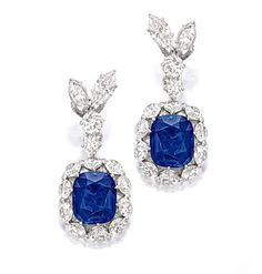 Very Rare Pair of Sapphire and Diamond Pendent Earrings