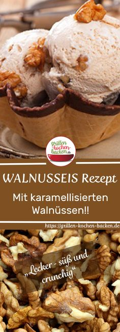 Walnusseis selber machen - mit karamellisierten Walnüssen - Kahvaltılıklar - Las recetas más prácticas y fáciles Baby Food Recipes, Keto Recipes, Cake Recipes, Dessert Recipes, Desserts, Keto Ice Cream, Ice Cream Recipes, Caramelized Walnuts, Cheesecake