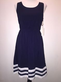 NWT 41 Hawthorn Stitch Fix Navy Blue Nautical Summer Sun Dress Rayon Sz M Medium #41Hawthorn #Sundress