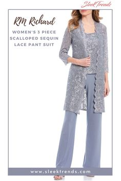 This fashionable pant suit will definitely make you stand out as a mother of the bride or groom or as a wedding guest. Women social dresses, Three Quarter Sleeve, Mother of bride outfits, Three piece pant suit, Party Dress, 3 piece pantsuit, Sequin lace dress, Casual dresses, Elbow sleeves, Lace dresses for women, Lace wedding dress, Mother of bride dress, #socialdress #motherofbride #womenpartydress #lacedress #elbowsleeves #longlacedress #threepiecepantsuit #partywear