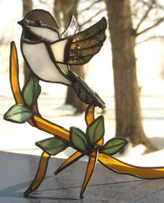 Stained glass bird: Chickadee