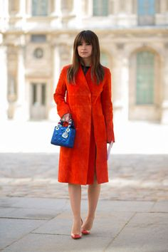 Miroslava Duma chic in red suede coat - PFW Fall/Winter 2015-2016 #StreetStyle