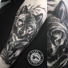 Dark line work wolf tattoo by Bambi Bambs. #blackwork #BambiBambs #linework #wolf #sketch