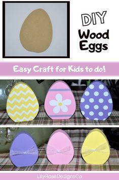 Fun & Easy Craft for kids! Decorate these wood eggs with paint or paper... the possibilities are endless! Perfect activity for Scout & School Groups. Visit LilyRoseDesignsCo today to see what other DIY crafts we have available! #diycrafts #diyeasterdecorations #diyeastercrafts #lilyrosedesignsco #kidscrafts