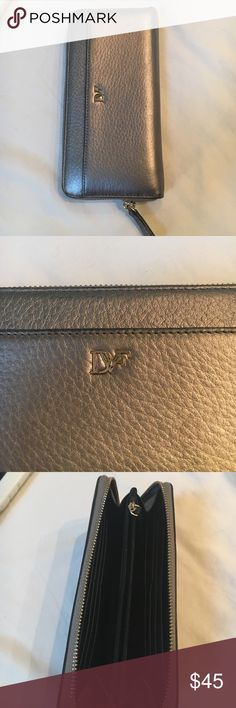 DVF wallet Pewter colored clutch wallet ( great condition ) Diane von Furstenberg Bags Wallets