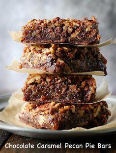 Chocolate Caramel Pecan Pie Bars | SoupAddict.com