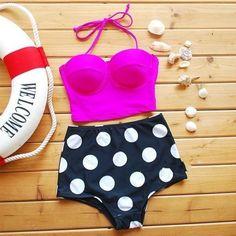 Cintura-alta-Retro-Vintage-push-up-Bandeau-Bikini-traje-de-bano-trajes-de-bano-conjunto-S-XL