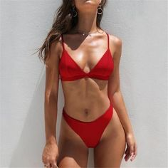 2020 Fashion Women Korean Bikini Surf Bikini firstes - Swimsuits - Ideas of Swimsuits Surf Bikini, Bikini Bandeau, Push Up Swimsuit, Red Swimsuit, The Bikini, Monokini, Bikini Swimwear, Trendy Swimwear, Mini Bikini