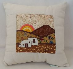 Ibiza finca with bread oven, in Embroidery art and patchwork in Browns, unique one of a kind craft. by MagicMountainIbiza on Etsy