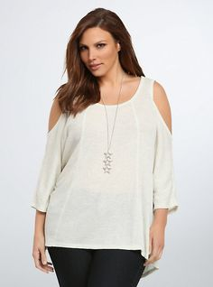 Plus Size Thermal Cold Shoulder Top,