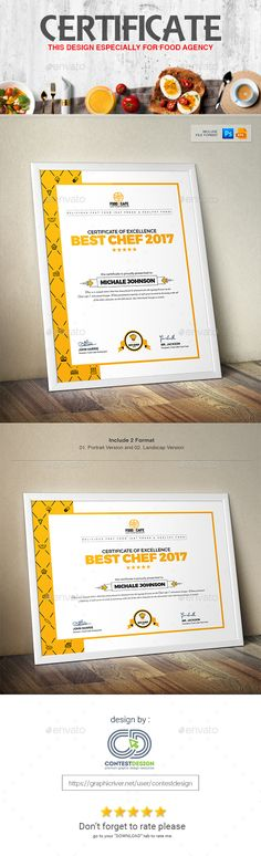 Buy Certificate Design Template by ContestDesign on GraphicRiver. Food Cafe is a very clean and creative certificate design for any kind of Fast Food and Restaurant or you can also u. Certificate Frames, Award Certificates, Certificate Design Template, Design Templates, Inspiration For Kids, Design Inspiration, Certificate Of Appreciation, E Magazine, Best Chef