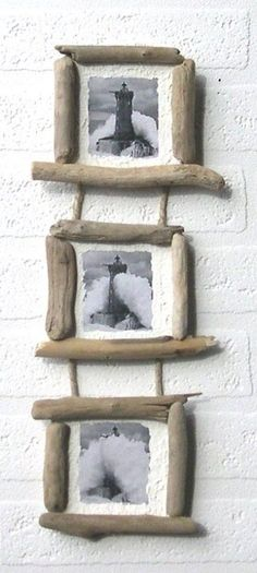 Driftwood furniture makes a lovely addition to your beach home, lake house or eclectic décor. You can make a variety of furniture from driftwood, depending on its shape and size. Hat and coat racks are obvious choices for smaller driftwood pieces, but you Driftwood Frame, Driftwood Projects, Diy Projects, Beach Crafts, Diy And Crafts, Twig Art, Beach Wood, Wood Creations, Shell Crafts