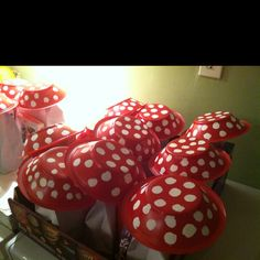 Mushroom Goodie Bags!!! A great idea for a Smurfs Party..