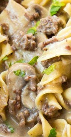 Ground Beef Stroganoff, Venison Stroganoff, Stroganoff Recipe, Stroganoff Noodles, Venison Stew, Mushroom Stroganoff, Beef Casserole Recipes, Meat Recipes, Crockpot Recipes