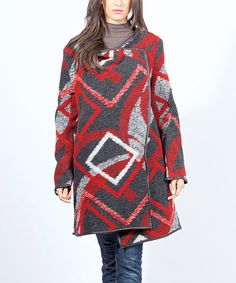 Look what I found on #zulily! Red Geometric Wool Sweater Jacket #zulilyfinds