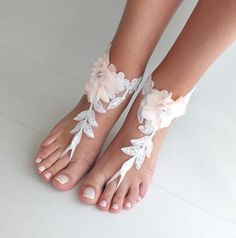 4cdbe2cdc3310 Beach wedding barefoot sandals blush flowers wedding shoes beach shoes  bridal accessories bangle beach anklets bride bridesmaids gift