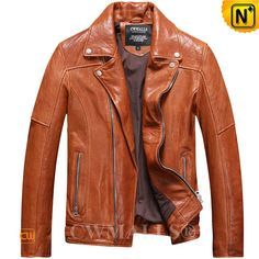 CWMALLS® Mens Washed Leather Biker Jacket CW816103 Classic men's washed leather jacket crafted from natural, full grained lambskin leather with vegetable tanned, leather biker jacket available in tan, dk red, finished in notched collar, zip sleeve cuffs, zip hand pockets and adjustable waist tabs. www.cwmalls.com PayPal Available (Price: $577.89) Email:sales@cwmalls.com