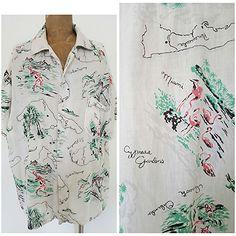 Vintage 60s Hawaiian Shirt Size XLarge Cotton Cypress Gardens Florida Mens  #Unknown #Hawaiian
