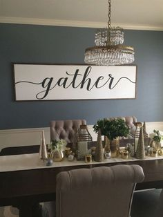 """Our most popular sign, Gather, is now available in black and white! Size is 38""""x14x1"""" , also available in 26x14x1 and 50x14x1, 80x26"""", custom sizes available-contact for quote. Background: White…More #DiningRoomDecorating Dining Room Wall Decor, Dining Room Design, Dining Rooms, Dining Tables, Dinning Room Ideas, Dining Room Quotes, Dining Room Paint, Dining Room Colors, Round Tables"""