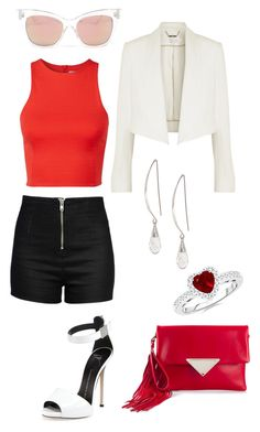 """""""Black White Red Outfit"""" by diamondanna ❤ liked on Polyvore featuring Giuseppe Zanotti, Love Moschino, T By Alexander Wang, Sara Battaglia, Lane Bryant and Chloé"""