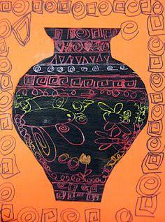 Greek Vases: Scratch Art