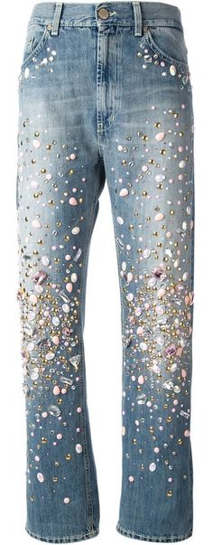 Dondup Embellished Boyfriend Jeans in Blue