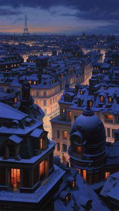 Snow, city at night