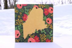 Green and Gold floral Maine Collage by JezzieAnne on Etsy, $40.00