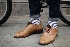 Striped socks / brown wing tips