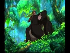 Two Worlds in HD from Tarzan Disney owns everything. sung by: Phil Collins *I love how it shows what the humans and the gorilla's are doing and how they're s. Disney Music, Disney Movies, Tarzan Disney, Cartoon Songs, Fruit Bat, Phil Collins, Animation, Force Of Evil, Second World