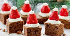 Cute and healthy flourless chocolate santa hats! Cake Recipes For Kids, Healthy Cake Recipes, Healthy Treats, Dessert Recipes, Delicious Recipes, Chocolate Santa, Christmas Desserts Easy, Flourless Chocolate, Chocolate Brownies