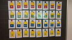 Loogiset talot. Aluksi nurin päin taululle. Oppilaat suuntien avulla kertovat, minkä lapun haluavat avata. Oppilaat yrittävät päätellä, mitä kuvassa voisi olla.