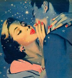 Vintage 1950's illustration Fridge magnet Kissing couple see stars romance love. $3,00, via Etsy.