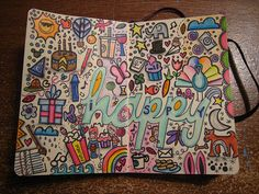 """Art Journal """"happy"""" themed page w/ doodles. #art #journal #happy"""