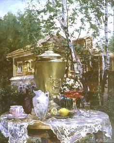 Animated Gif by Heather Gill Russian Tea Time, Russian Art, Russian Style, Russian Beauty, Russian Painting, Gifs, Good Morning Gif, Magic Eyes, Beautiful Gif