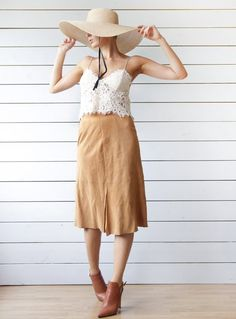 4396a90e2d Vintage soft camel brown suede leather high waist knee length pencil midi skirt  S