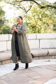 Olive and black are awesome together. This is a look I love! Big Fashion, Curvy Fashion, Nice Dresses, Normcore, Awesome, Model, Black, Closet, Style