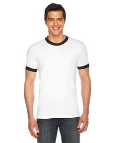 American Apparel Unisex Poly-Cotton Short-Sleeve Ringer T-Shirt BB410 WHITE/BLACK
