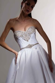 Victor Harper- Come find this one of a kind at Bridal Boutique of Arizona! This classic satin ballgown is so timeless any bride is going to love this!  #ballgown#timeless#satin#bling#sweetheartneckline#castle