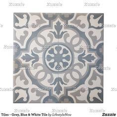 Morrocan Tiles Kitchen, Blue Kitchen Tiles, White Bathroom Tiles, Grey Tiles, Bathroom Floor Tiles, White Tiles, Bathroom Colors, Bathroom Ideas, Green Kitchen