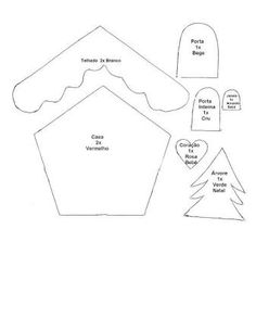CASA - Gata Bacana: Christmas Cottage template with step by step video Felt Christmas Decorations, Christmas Ornament Crafts, Christmas Sewing, Christmas Projects, Christmas Crafts, Christmas Houses, Gingerbread House Patterns, Gingerbread Crafts, Felt Ornaments Patterns
