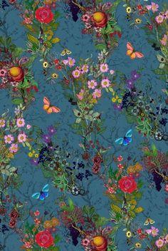 Bloomsbury Garden Fabricin teal, Timorous Beasties