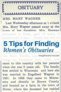 5 Tips to Help You Find You Female Ancestor's Obituary <  Even when they don't include a first name /   ajc
