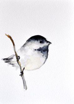 Peinture aquarelle oiseaux originale de Mésange de ArtCornerShop, 30,00. 5833