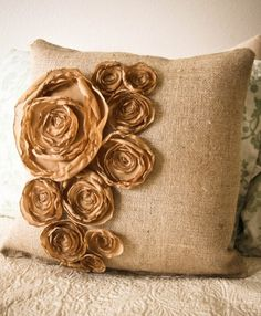 in burlap base and organza flowers?
