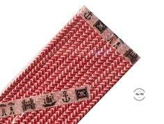 Dekoration - Papierstrohhalme PIRATEN ROT CHEVRON 13 Stück - ein Designerstück von Fitzi-Floet bei DaWanda