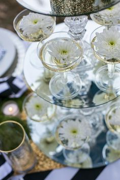 New Years Wedding - Floral Champagne Fountain Centerpiece by Fete & Frivolity Events